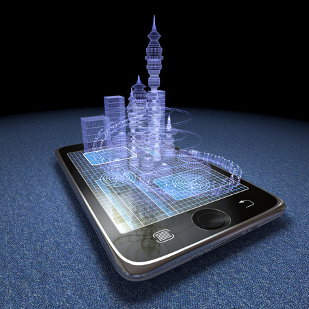 Digital tablet and futuristic town as progress concept background
