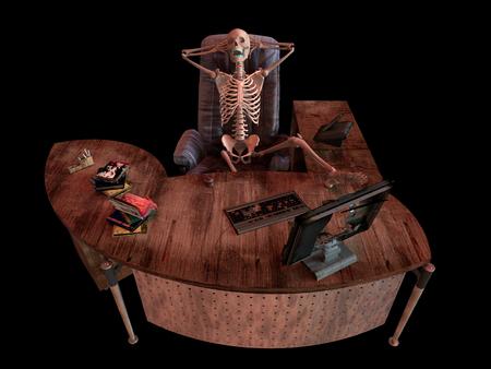 sitting skeleton in office interior concept illustration
