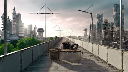 atmosphere construction: Apocalyptic concept background of futuristic and destroyed city with sitting skeleton