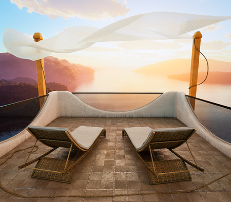 Balcony with Sea Views and two chairs vacation concept photo