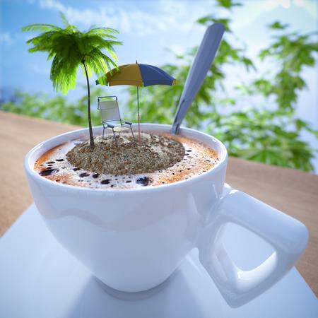 tarde de cafe: Taza de café de vacaciones composición concepto de relax con la palma y la silla