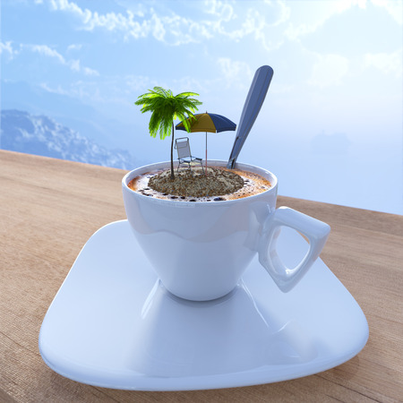 Coffee cup vacation relaxing concept composition with palm and chair Archivio Fotografico