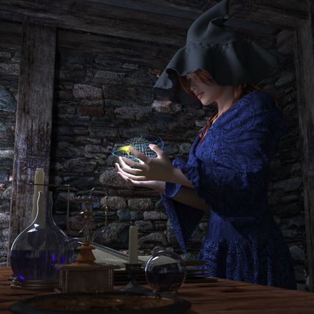 halloween witch in laboratory concept background photo