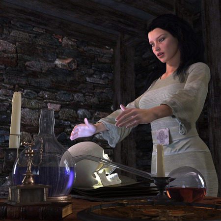 harming: halloween witch in laboratory concept background