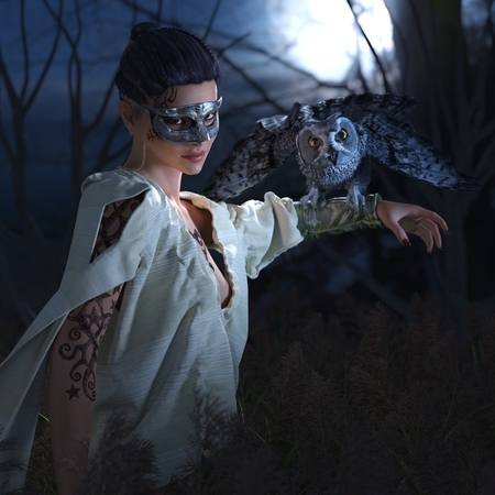 animal masks: Beautiful sexy witch in mask with owl halloween background
