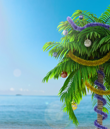 New Year palm tree with decoration concept holiday background Stock Photo