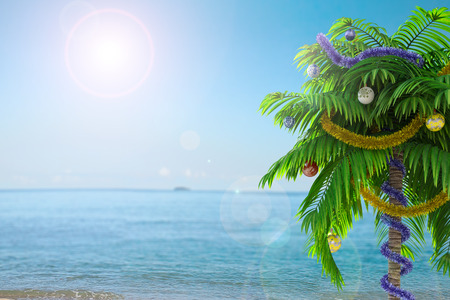 New Year palm tree with decoration concept holiday background photo