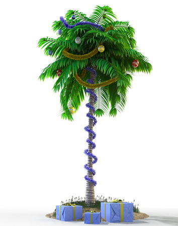 beach wrap: Isolate New Year palm tree with decoration concept holiday element Stock Photo