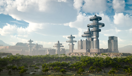 future city: aerial view of Futuristic City