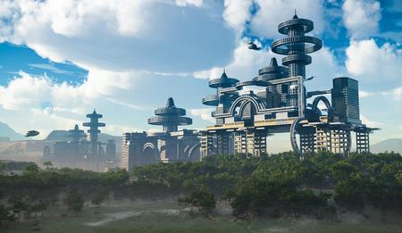 비행 우주선과 미래의 도시의 공중보기
