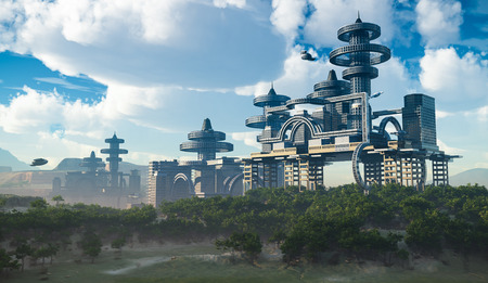 luchtfoto van Futuristische Stad met vliegende ruimteschepen