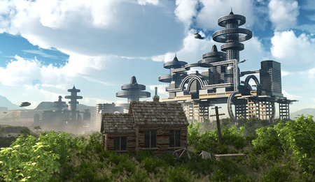 ancient civilization: aerial view of Futuristic City with flying spaceships and ancient house