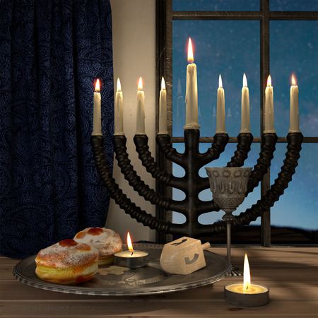 hanukkah background with candles, donuts, spinning top photo