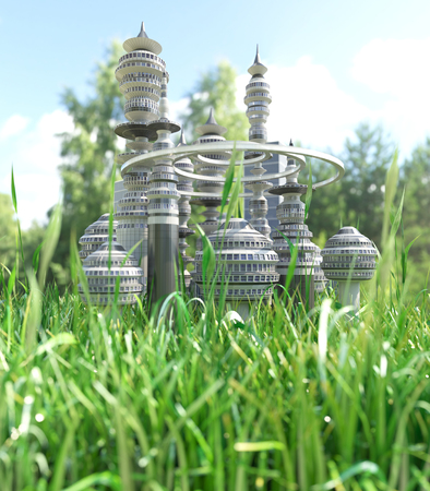 Futuristic City with blade of grass ecology concept background photo