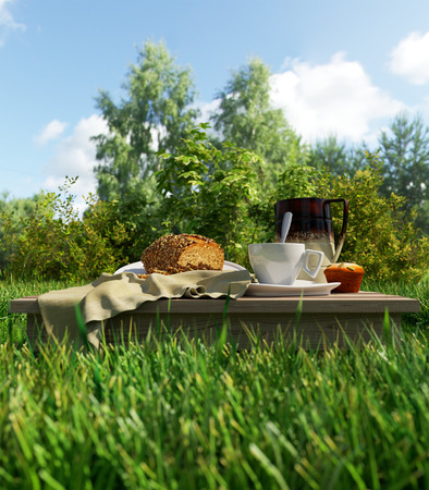 tarde de cafe: Taza de café y pan vacaciones picnic relajante concepto stilllife