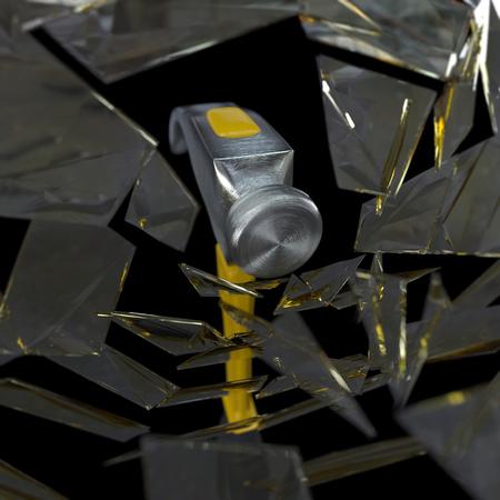 smashing: hammer smashing a glass concept background