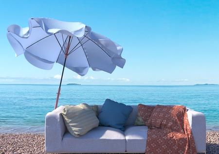 sfondo concetto di vacanza con elementi interni e la spiaggia del mare