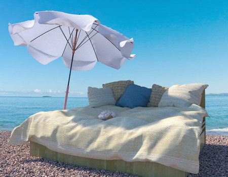sea bed: vacation background with interior elements and seashell