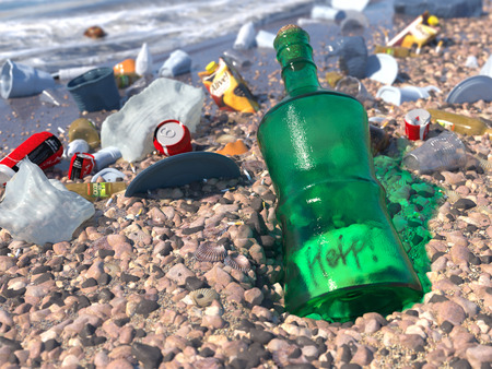 basura: basura en la playa del mar concepto ecológico fondo Foto de archivo