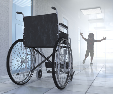 mobility nursing: Empty wheelchair parked in hospital hallway with child figure hope concept background Stock Photo