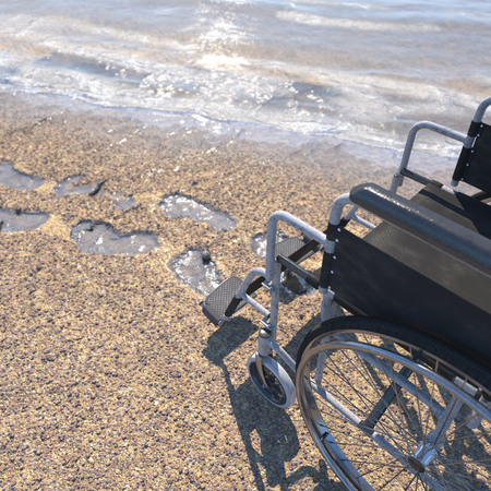 invalidity: Empty wheelchair on a beach of sand with footprints concept background