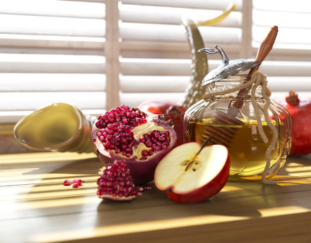jewish background: Honey jar with apples and pomegranate for Jewish New Year Holiday rosh hashanah