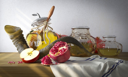 rosh: Honey jar with apples and pomegranate for Rosh Hashana religious holiday