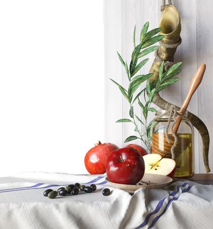 rosh hashana: Honey jar with apples and pomegranate Rosh Hashana hebrew religious holiday Stock Photo