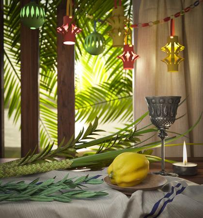 palmeras: Símbolos de la fiesta judía de Sucot con hojas de palma y la vela Foto de archivo