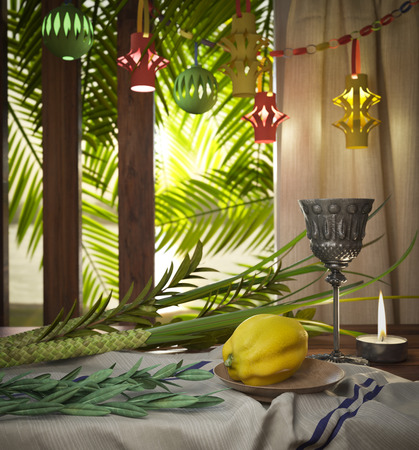 Symbols of the Jewish holiday Sukkot with palm leaves and candle Stock Photo