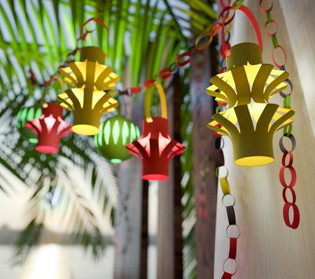 Decorations inside a Sukkah during the Jewish holiday celebration of Sukkoth