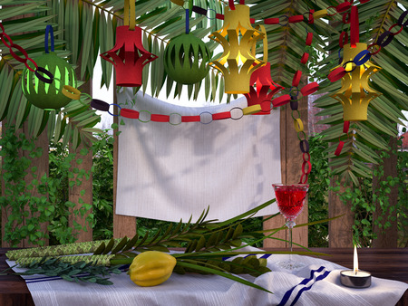 Symbols of the Jewish holiday Sukkot with palm leaves and candle Standard-Bild