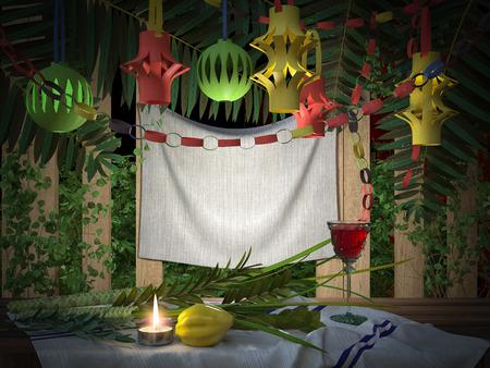 sukkot: Simboli della festa ebraica di Sukkot, con foglie di palma e candele Archivio Fotografico