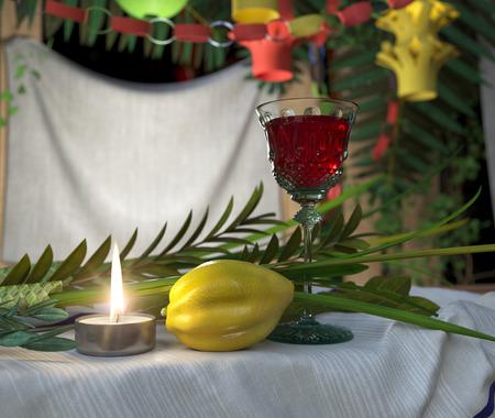sukkot: Simboli della festa ebraica di Sukkot con candela e bicchiere di vino