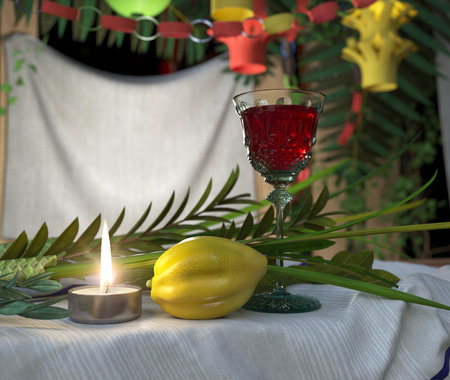 jewish home: Symbols of the Jewish holiday Sukkot with candle and wine glass