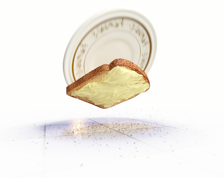 vexation: Bread and butter falling on the floor concept isolate background