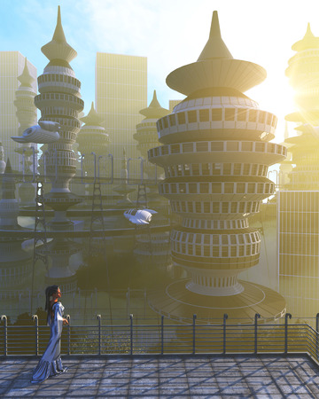 fiction: aerial view of Futuristic City with flying spaceships and fantasy woman Stock Photo