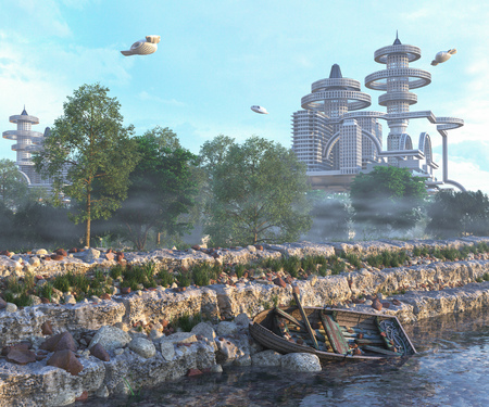 old boat: view of Futuristic City with flying spaceships and old boat and modern concept