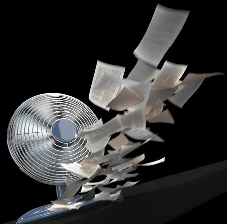 libros volando: ventilador y la liquidación del concepto del fondo de papel en negro aislado Foto de archivo