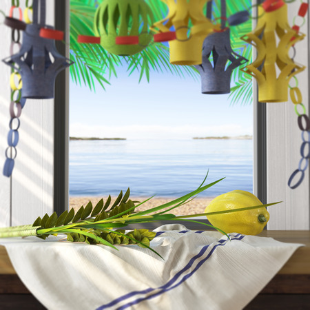 sukkot: Symbols of the Jewish holiday Sukkot with palm leaves and sea beach