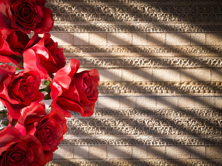 rosas rojas: red roses on ancient wall decorative concept background