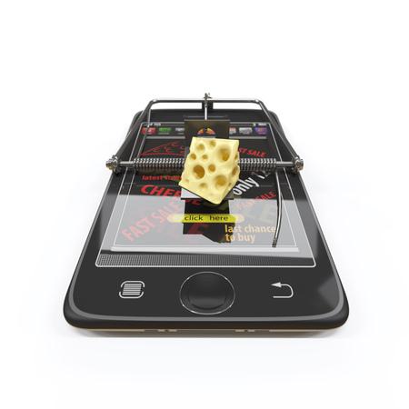 mousetrap: virtual cheese. smartphone as mousetrap advertising concept Stock Photo
