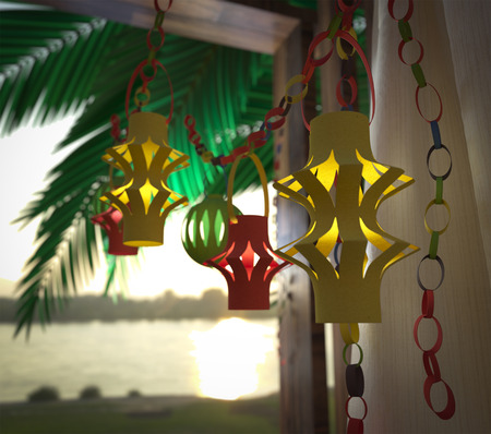 tree branch: Decorations inside a Sukkah during the Jewish holiday celebration of Sukkoth