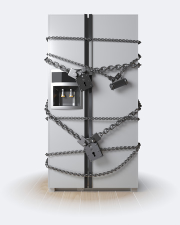 lock concept: Dieting concept. Refrigerator, chain and lock Stock Photo