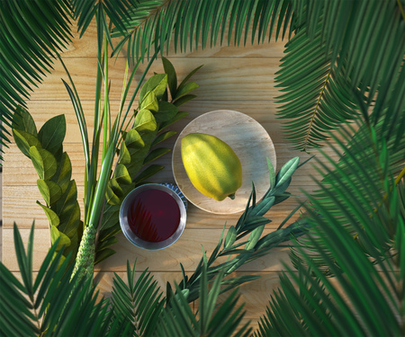 lulav: Symbols of the Jewish holiday Sukkot with palm leaves and glass wine 3D illustration Stock Photo