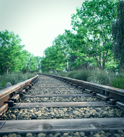 Railway track crossing rural landscape. Travel concept