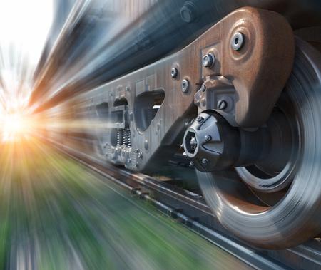 Industriële trein rail wielen close-technologie perspectief conceptuele achtergrond Stockfoto
