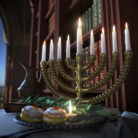hasidic: hanukkah background with candles, donuts, spinning top and old books