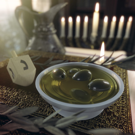 hasidic: hanukkah close up with candles, old books, spinning top and olives