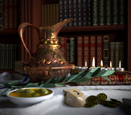 olive oil: hanukkah close up with candles, old books, spinning top and olives